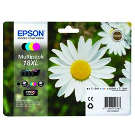 Pack de 4 cartouches d'encre originales - EPSON 18XL - 1 noir + 1 cyan + 1 magenta + 1 jaune - (C13T18164012) - grande capacité