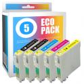 Pack de 5 cartouches d'encre compatibles  -  EPSON T0715/T0895  -  2 noir + 1 cyan + 1 magenta + 1 jaune  -  (C13T07154010)