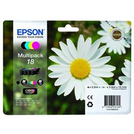 Pack de 4 cartouches d'encre originales - EPSON 18 - 1 noir + 1 cyan + 1 magenta + 1 jaune - (C13T18064012)