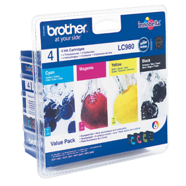 Pack de 4 cartouches d'encre originales - BROTHER LC980 - 1 noir + 1 cyan + 1 magenta + 1 jaune - (LC980VALBP)