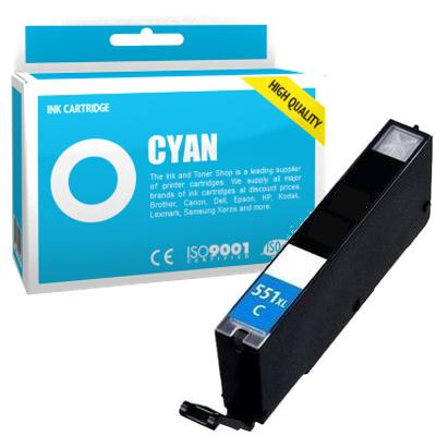 Cartouche d'encre compatible - CANON 551XL/CLI551CXL - cyan - (6444B001) - grande capacité