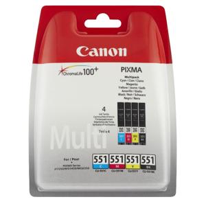 Pack de 4 cartouches d'encre originales - CANON 551BK + 551C + 551M + 551Y - 1 noir + 1 cyan + 1 magenta + 1 jaune - (6509b009)